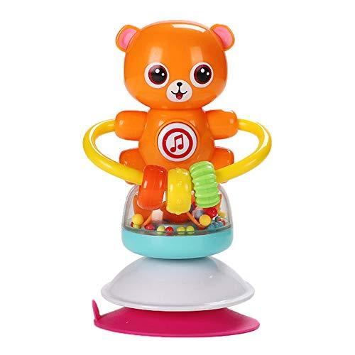 MINI Boutique Spin Baby Rassel Spielzeug mit Unterhaltungsmusik Saugnapf Hochstuhl Spielzeug Entwicklungs Tablett Spielzeug für das frühe Lernen für Alter von 6 Monaten und bis