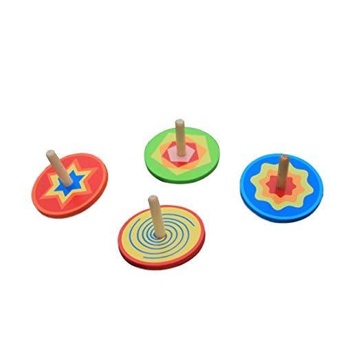 Wdoit Mini en bois colorées Gyro Jouets manuellement rotatif pour enfant Jouets Parent-child Jouets, Bois dense, Red, 6 * 5.7CM