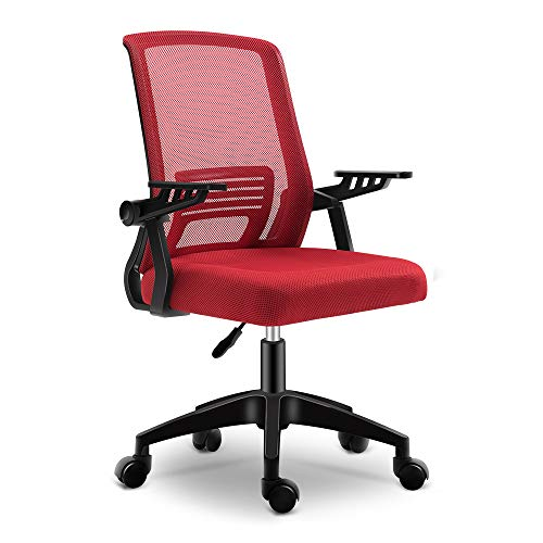 Ergonomic Office Chair, mesh Computer Desk Chair with Wheels Kids Rolling Chair for Home Office Modern Cheap Comfy Office Chairs with arms Height Adjustable Back Lumbar Support Task Chair (Dark RED)