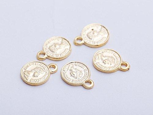 紗や工房 コインチャーム(約10.5mm) 約5個 ゴールド カン付き 1穴 アクセサリーパーツ ハンドメイド