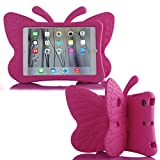 Simicoo iPad 7 8 10.2 3D Cute Butterfly Case for Kids Light Weight EVA Stand Shockproof Rugged Heavy Duty Kids Friendly iPad Cover for Kids iPad 10.2 iPad 7th 8th (Rose)