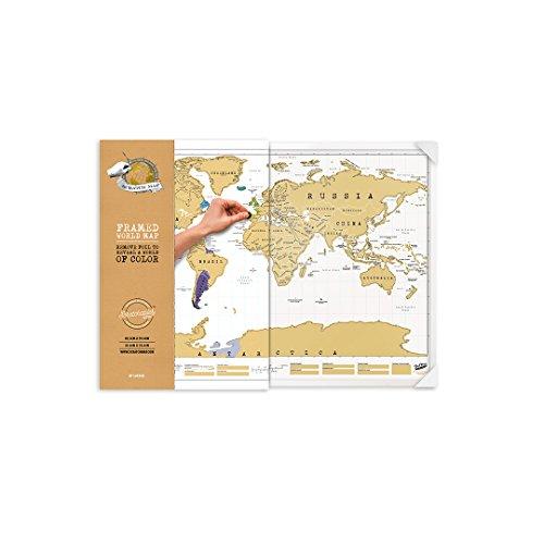 Luckies of London Weltkarte zum Rubbeln mit Rahmen - Das Original Scratch Map, Original, Groß, 82,5 x 59,4cm