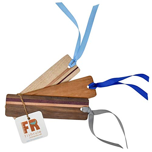 Real Wood Bookmarks, Handmade Bookmarks Made in Colorado Springs (Artistic Gifts Set Includes 3 Unique Bookmarks of Striped Wooden Bookmarks & Single Block Book Marks)