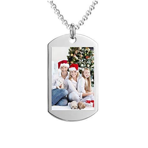 Collar con foto personalizada Collar con texto tallado Collar con colgante Collar con placa de identificación(Plata 20)
