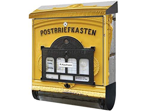 KlebeSpatz® Design Motiv Bild Briefkasten mit Zeitungsfach XXL Premium Alter Briefkasten GELB mit Zeitungsbox A4 Einwurf Rostfreier Stahl