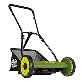 """Snow Joe MJ500M 16 inch Manual Reel Mower w/Grass Catcher, 24.5"""" L x 16"""" W x 49.2"""" H, Green/Black 2 Easy to push and maneuver on small lawns 4 position manual height adjustment Maintenance free.Maximum Cutting Height: 1.81 inches. Minimum Cutting Height: 0.88 inches. Tailor cutting heights up to 1.81 inches deep"""