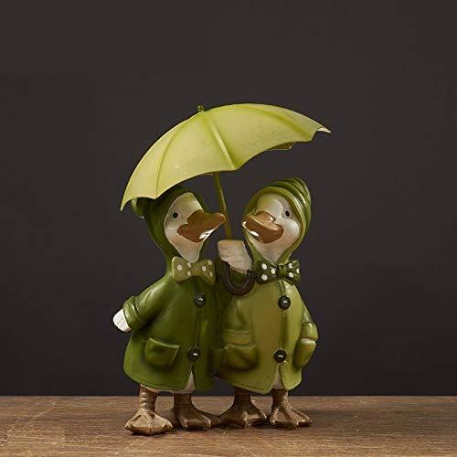 Kleine Statue,Nette Kreative Einfache Harz Liebhaber Ente Mit Regenschirm Statue Schöne Kleine Figuren Kunsthandwerk Für Auto Nach Hause Schreibtisch Regal Dekor Familie Paare Sammler Kunst Geschenk