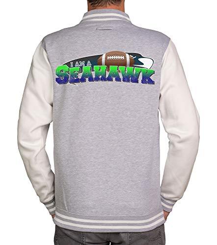 shirtdepartment - Herren College Jacken Kollektion - I am a Patriot/Packer und viele mehr - Wähle Deine Lieblings-Football-Mannschaft aus! hellgrau-Seahawk XL