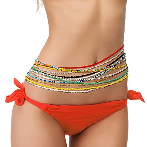12 Piezas Cadenas de Cintura de Cuentas Joyas de Cuerpo Cadenas de Vientre de Diamante Imitación Cadenas de Cuerpo de Cuentas de Colores para Mujeres Niñas Bikini Playa Accesorios Joyería