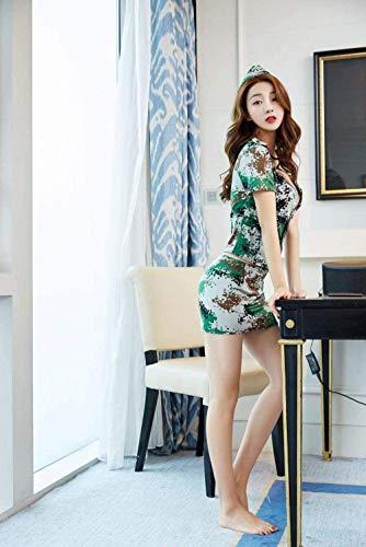 GHJX Bustiers y corsés eróticos para Mujer Conjunto de lencería para Mujer corsé de Mujer Camuflaje azafata Mostrar Uniforme Sexy Top de Cadera + Falda + Sombrero M-Photo_Cor_Large