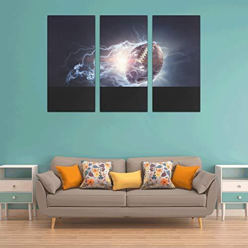 WYYWCY 3 Panel Beste Wanddekoration Mode Elliptische Rugby Sport Foto Leinwand Drucke Wand Schlafzimmer Dekor Wandkunst Für Küche Für Zuhause Wohnzimmer Schlafzimmer Badezimmer Wanddekor Poster