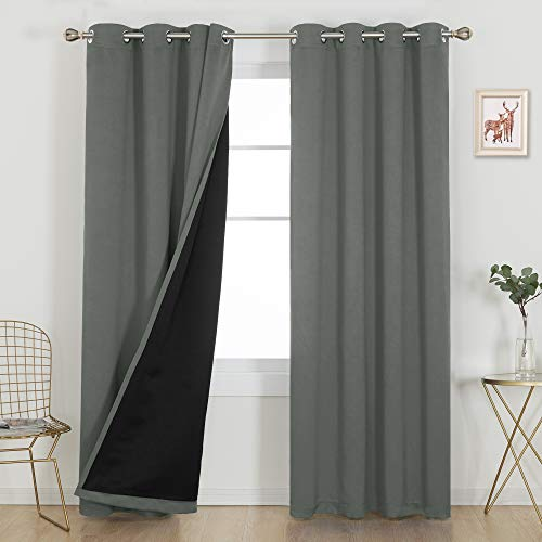 Deconovo Long Curtains, 100% Blackout Curtains 108 Inche, Thermal Insulated, Sound Proof Window Drapes, Total Blackout with Liner for Bedroom/Living Room (Pack of 2, 52W x 108L Inch Dark Grey)