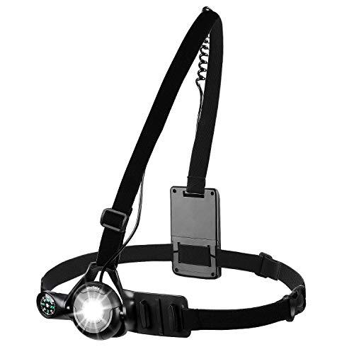 WESTGIRL Led Lauflicht, 90° Verstellbarer Strahl Laufgurt Joggen Brust, USB wiederaufladbare wasserdichte Brustleuchte mit Kompass, Night Rider lauflicht zum Wandern, Dog Walking, Camping