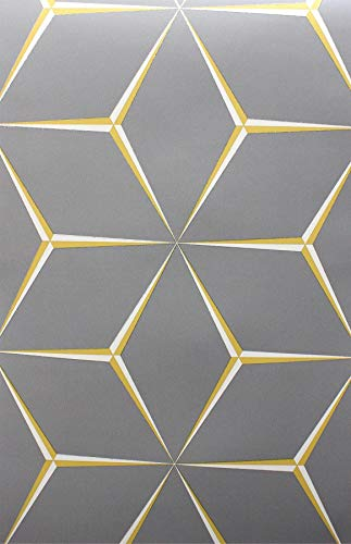 Grey Yellow 3D Geometric Wallpaper Glitter Shimmer Feature Wall from Y�L