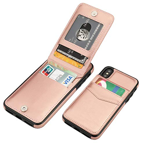 iPhone X iPhone Xs Case Wallet with Credit Card Holder, KIHUWEY Premium Leather Magnetic Clasp Kickstand Heavy Duty Protective Cover for iPhone Xs/X 5.8 Inch(Rose Gold)