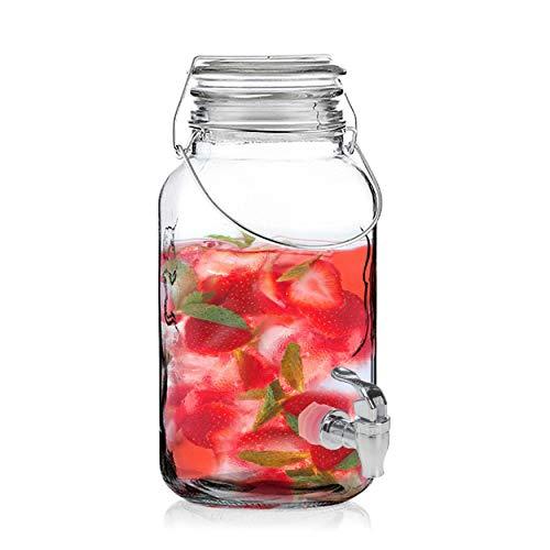 Oramics Getränkespender aus Glas mit Zapfhahn – 4 Liter – für Warm- und Kalkgetränke mit Metallbügelverschluss im Retro Einmachglas Design, für Bowle, Cocktails, Säfte oder Mixgetränke