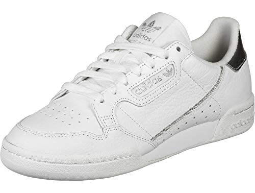 adidas Damen Continental 80 Sneaker, Footwear White/Footwear White/Silver Metallic, 41 1/3 EU
