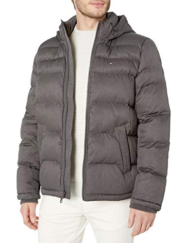 Tommy Hilfiger Men's Classic Hooded Puffer Jacket (Standard and Big & Tall), Heather Charcoal, Medium