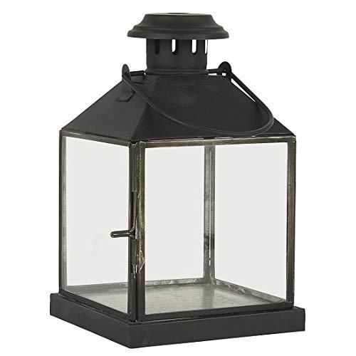 Ib Laursen Zwart Vierkante Glazen Lantaarn/Pijler Kaars Houder Met Haak 25 cm
