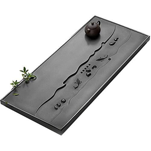 qazxsw Bandeja de té de Piedra Negra Natural Juego de té Chino Kungfu Mesa de té de oficina Mesa de té Rectangular tallada a Mano