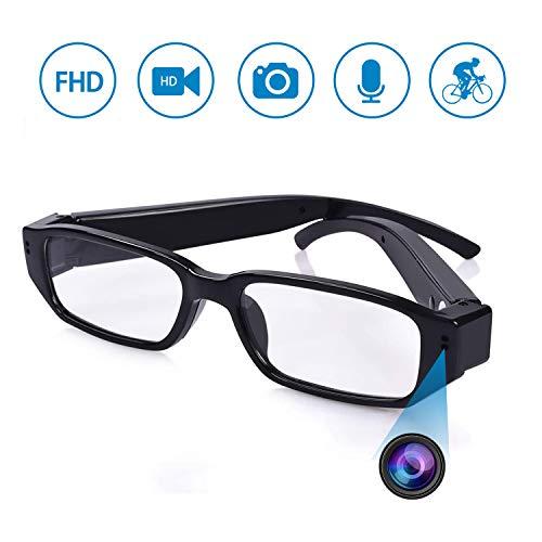 KAMREA Brille Versteckte Kamera, HD 1080P Mini Überwachungskamera, Videorecorder, Tragbare Brille Nanny Cam mit Video, Foto und Tonaufnahme für Drinnen und Draußen