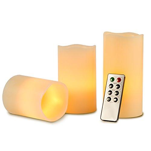 Kohree 3 x LED Kerzen Flammenlose Kerze mit Fernbedienung Timer 10cm 12.8cm 15.2cm flameless Teelichter einstellbare Helligkeit elektrisch Flackern Kerzen Outdoor valentinstag deko Party Geburtstags