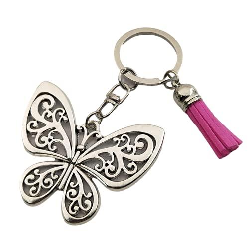 rickie_cao 1 Uds., Regalo de mariposa, encantos de mariposa, llavero con borlas, llavero de animales, encantos de bolsa para mujeres, joyería de la naturaleza