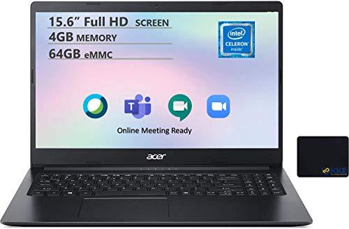 Acer Aspire 1 Laptop, 15.6' FHD Screen, Intel Celeron N4020 Processor, 4GB DDR4 Memory, 64GB eMMC, Webcam, WiFi, Bluetooth, 1-Year Office 365, Windows 10, KKE Mousepad