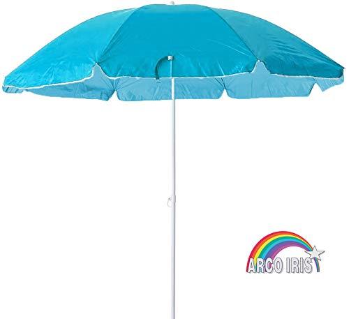 Arcoiris Sombrilla Playa Parasol de Aluminio Protección Solar UPF+50 (200cm, Azul Clara)