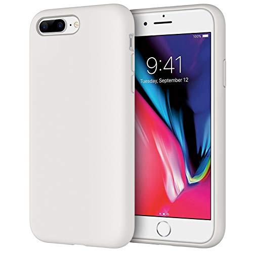 JETech Cover in Silicone Compatibile iPhone 7 Plus / 8 Plus, 5,5 Pollici, Custodia Protettiva con Tutto Il Corpo Tocco Morbido setoso, Cover Antiurto con Fodera in Microfibra, Bianco