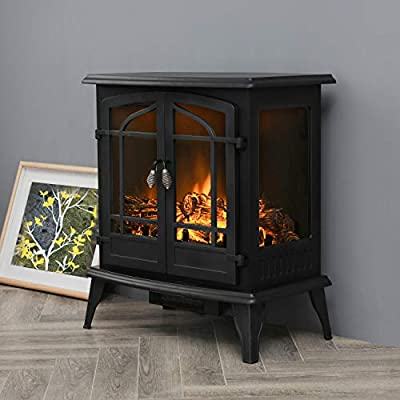 Top Space Electric Fireplace Stove, Portable Freestanding Fireplace, Realistic Flame and Logs Vintage Design, Temperature Adjustable for Home and Office Indoor Black(28.3''H, Black)