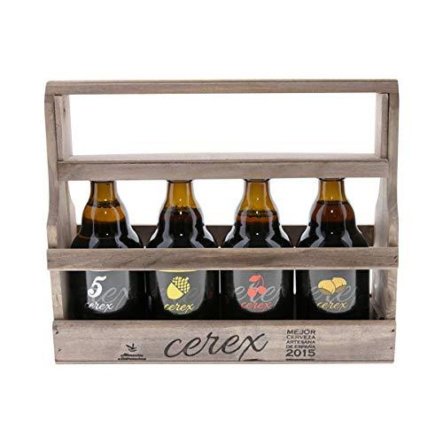 CEREX - Pack Degustación de 4 Cervezas Artesanas Españolas con caja regalo de presentación en madera – Cervezas de Cereza, Castaña, Ibérica de Bellota ...