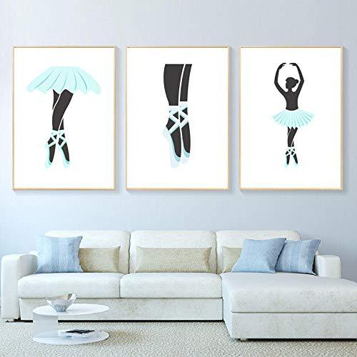Póster de pintura de lienzo de estilo nórdico para niñas, póster de zapatillas de ballet, hermosas pinturas, arte de pared, impresiones en lienzo, imagen de dibujos animados-50x70cmx3 (sin marco)