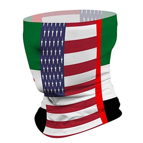 Customize Patriotic Scarf Bandana Balaclava Seamless Face Cover Mouth Mask Magic Neck Gaiter for Men & Women - Half Flag of United Arab Emirates & USA Flag