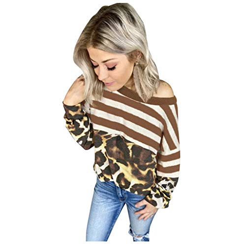 KANGMOON Women's Color Block V Neck Knit Long Sleeve Stripe Tops Casual Loose Leopard Blouse Shirts