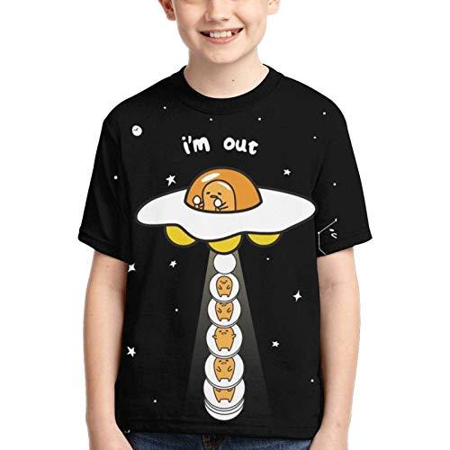 XCNGG Niños Tops Camisetas Boy T-Shirt Gudetama Cute Egg 3D Printed Teenage Youth Boys Girls Short Sleeves Small