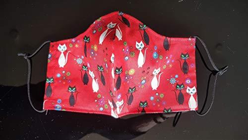 Mundschutz, Mund- und Nasenbedeckung, Schutzmaske aus Stoff Gr. S, Spezialgummi Länge anpassbar, rot Katzen sofort lieferbar