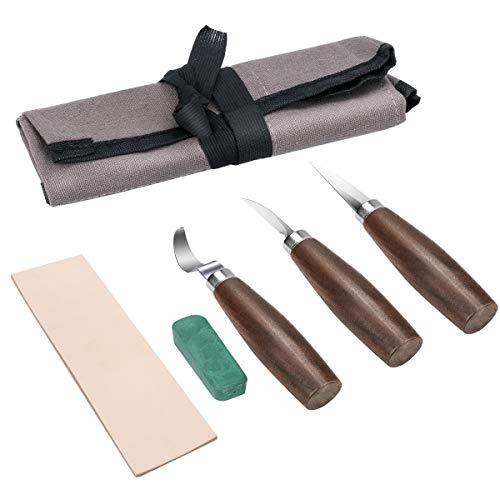 Powcan 5pcs outils de sculpture sur bois avec 3 couteaux à crochet Sloyd + cire à polir + cuir d'affûtage + sac en toile pour débutants et sculpteurs sur bois professionnels (Sombre)