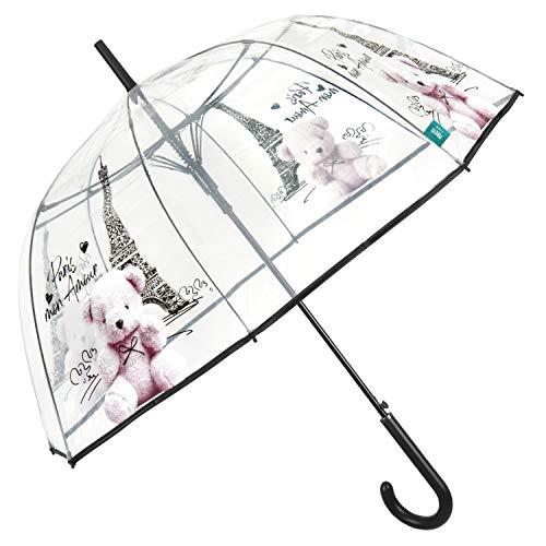 Paraguas Mujer Transparente con Apertura Automática - Paraguas Clásico de Burbuja Cupula con Estampado Tour Eiffel y Osito - Paraguas Resistente al Viento Elegante Diámetro 89 cm PERLETTI (Paris)
