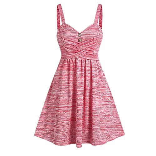 N\P Übergroße gefärbte Taste Kreuz-Mini-Sling-Kleid Sleeveless Damen