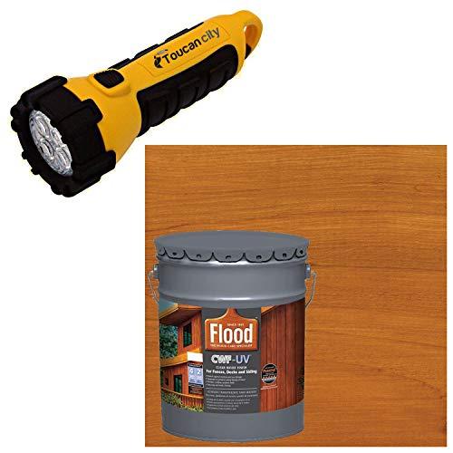 Toucan City LED Flashlight and Flood 5 gal. Cedar Tone CWF-UV Exterior Wood Finish FLD520-05