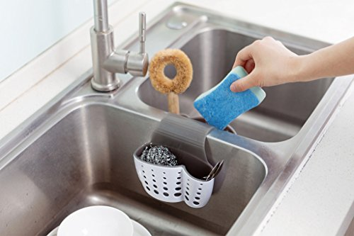 Sink Caddy Sponge Holder Soap Holder, Eunion Plastic Saddle Faucet Caddy Desk Organizer Pen Holder