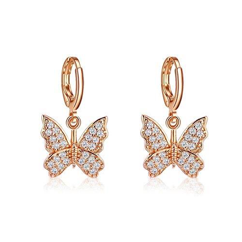 ZIXIYAWEI Ohrringe Für Damen Mode Korean Butterfly Dangle Ohrringe Für Frauen Insekten Acryl Ohrringe Boho Ästhetische Süße Ohrringe Schmuck-Gold_Color_Zircon
