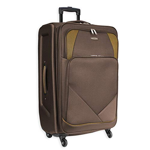 4 Wheel Spinner Soft Shell XLarge Suitcase Luggage Travel Bag AR800 (32' XLarge (H85xW52xD33 cm), Brown)