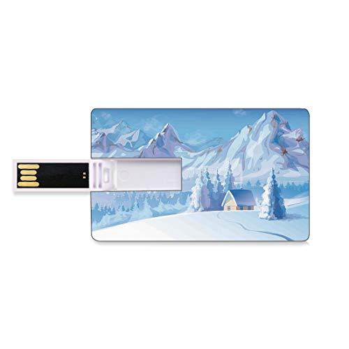 32GB Unidades Flash USB Flash Decoraciones de Invierno Forma de Tarjeta de crédito bancaria Clave Comercial U Disco de Almacenamiento Memory Stick Poco Debajo de Majestic Mountains en Winter Ice Bliz