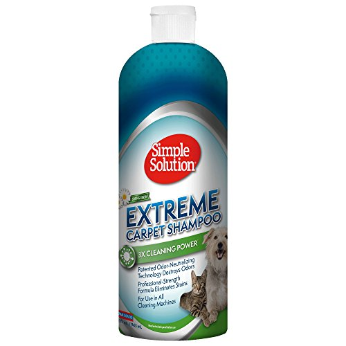 Simple Solution Extreme Carpet Shampoo   Professional Strength Pet Stain and Odor Remover   Compatible with All Cleaning Machines   Spring Fresh Scent   32 Ounces