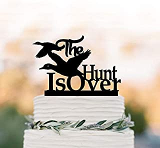 DKISEE The Hunt Is Over Wedding Cake Topper with Ducks, Funny Wedding Cake Topper, Unique Cake Topper, 5-6