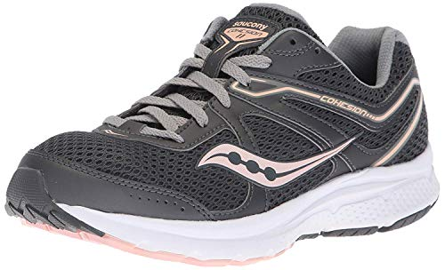 Saucony Women's Grid Cohesion 11 Sneaker, Charcoal/Peach,...