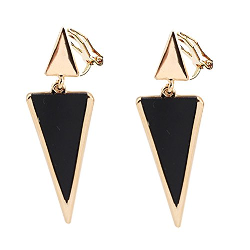 Clip on Earring Back with Pad Double Triangle Dangle for Girl Kid no Piercing Fashion Jewelry Resin Black