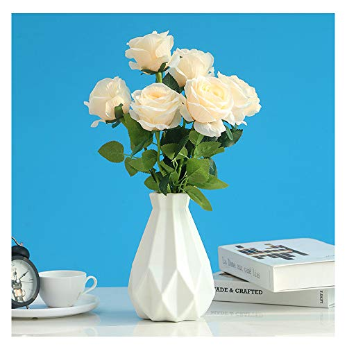 HASPINH Unbreakable Vases for Flowers, Plastic Vase,Geometric Plastic Minimalist Style Ceramic Look Home Décor Vase for for Home Decor, Living Room, Table (White)